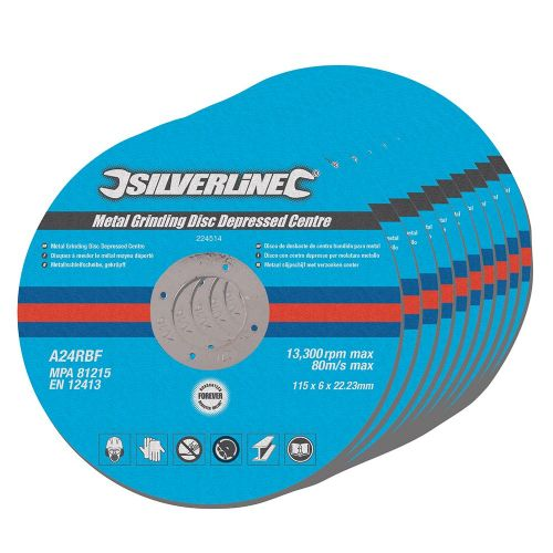 10 Pack Silverline 224514 Metal Grinding Discs 115mm x 6mm x 22.23mm